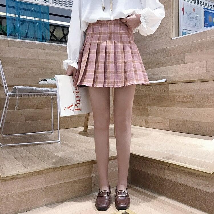 Pleated Mini Skirt With Plaid Pattern