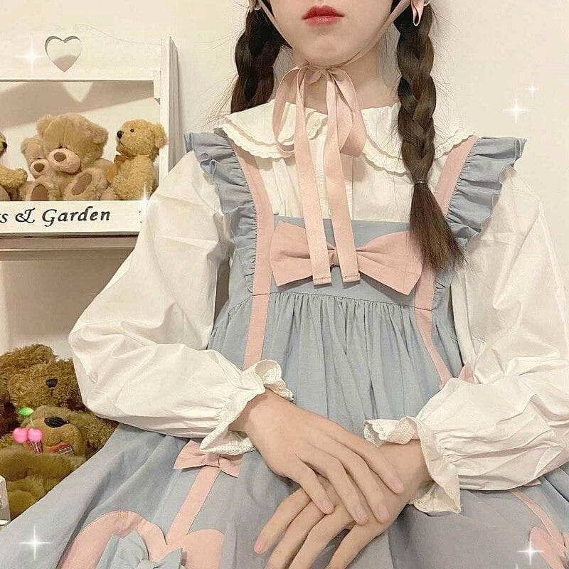 Pastel Lolita-Style Dress With Ribbons