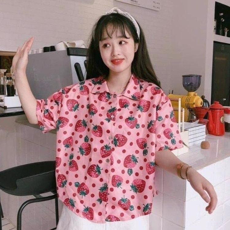 Buttoned Shirt With Strawberry Pattern