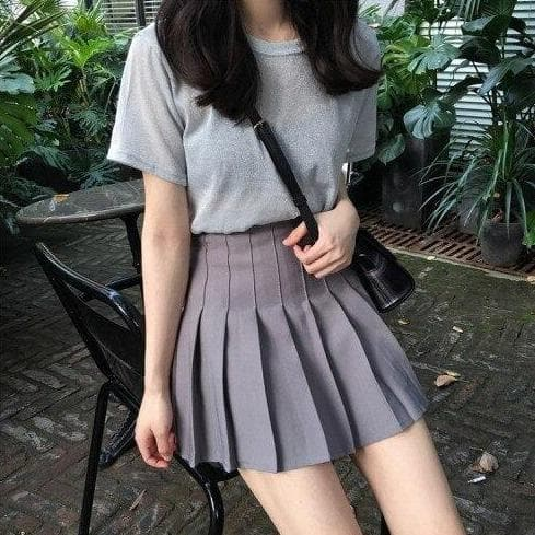 High-Waisted Pleated Mini Skirt