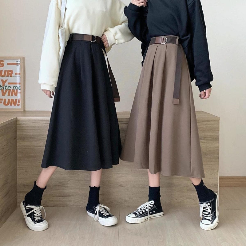 Pleated Mid-Calf Skirt