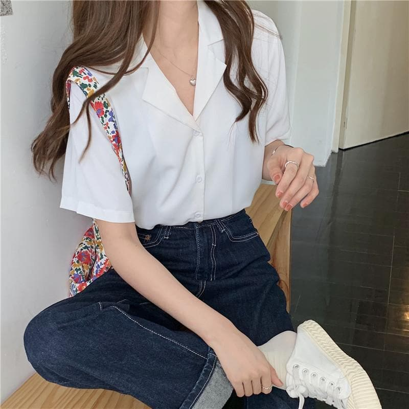 Button-Down Blouse With Short Sleeves