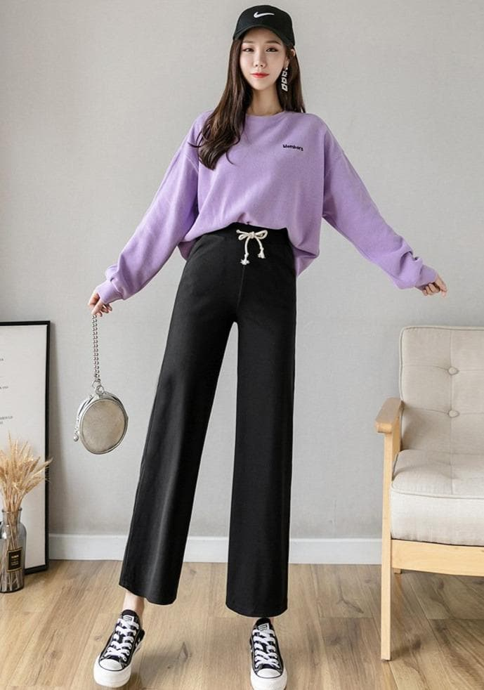 Ankle-Length Sweatpants With Flared Legs