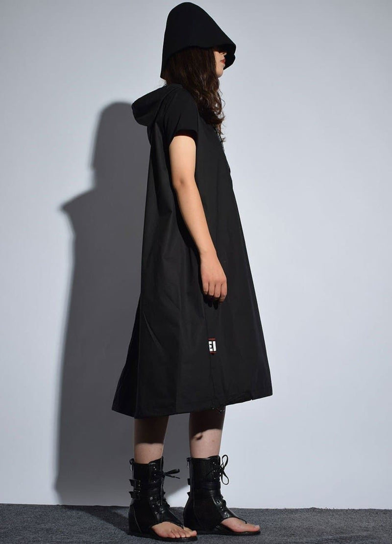 Hooded Dress/Coat With Lettering On Drawstring And Zipper