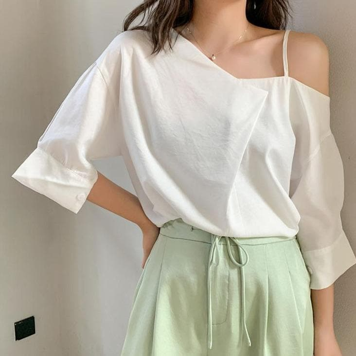 Off-Shoulder Blouse With Half Sleeves