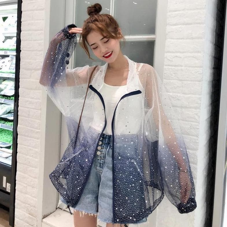 Transparent Coat With Color Gradient And Star Print