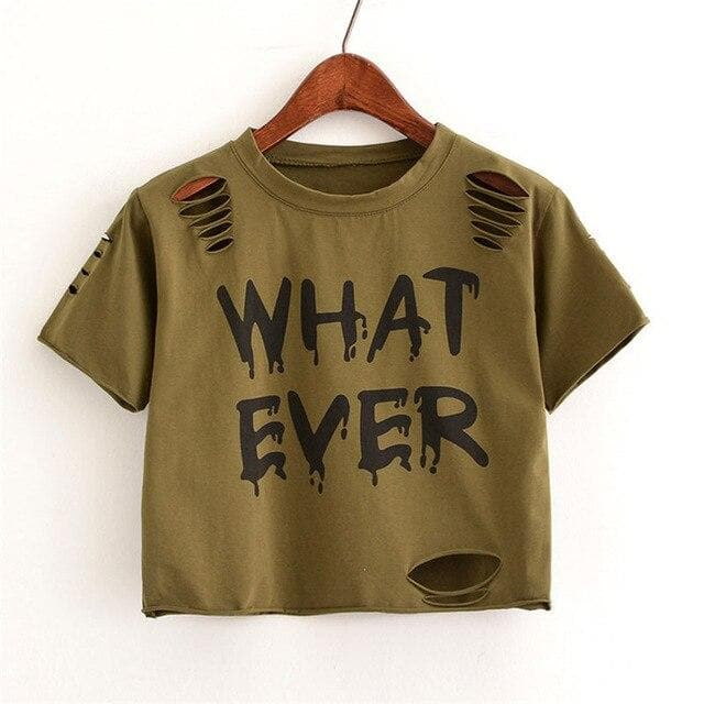 WHATEVER Crop Shirt - authentic Asian fashion from Korea, Japan and China.