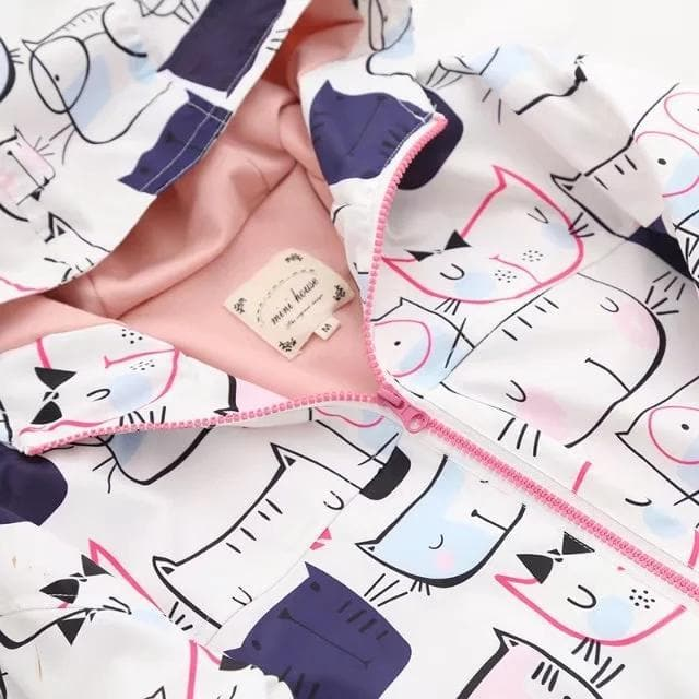 K-FASHION ♥ Cute Pastel Jacket With Kitty Pattern - K-Pop Merch Lianox