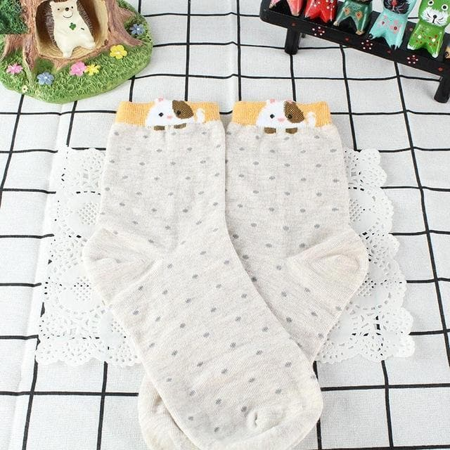 K-FASHION ♥ Cute Polka Dot Socks With Animals - K-Pop Merch Lianox