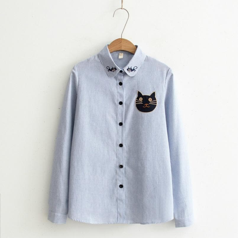 Striped Blouse With Kitties - authentic Asian fashion from Korea, Japan and China.