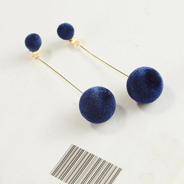 Plush Ball Earrings - authentic Asian fashion from Korea, Japan and China.