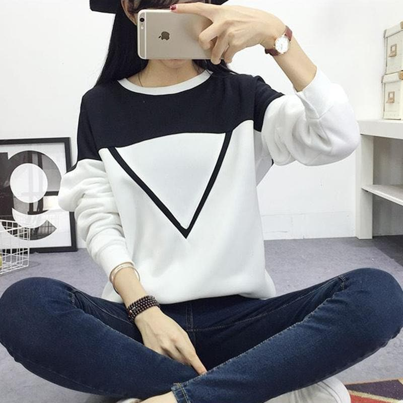 Color Patchwork Triangle Longsleeve - authentic Asian fashion from Korea, Japan and China.