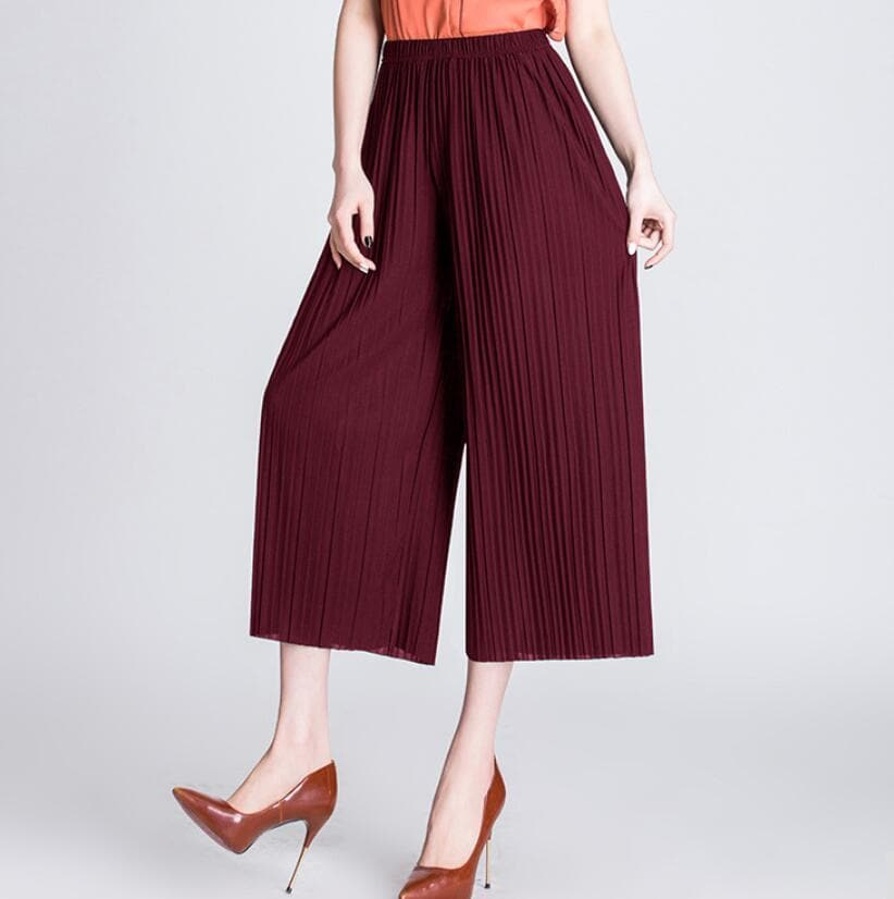 K-FASHION ♥ High Waist Loose Chiffon Pants - K-Pop Merch Lianox