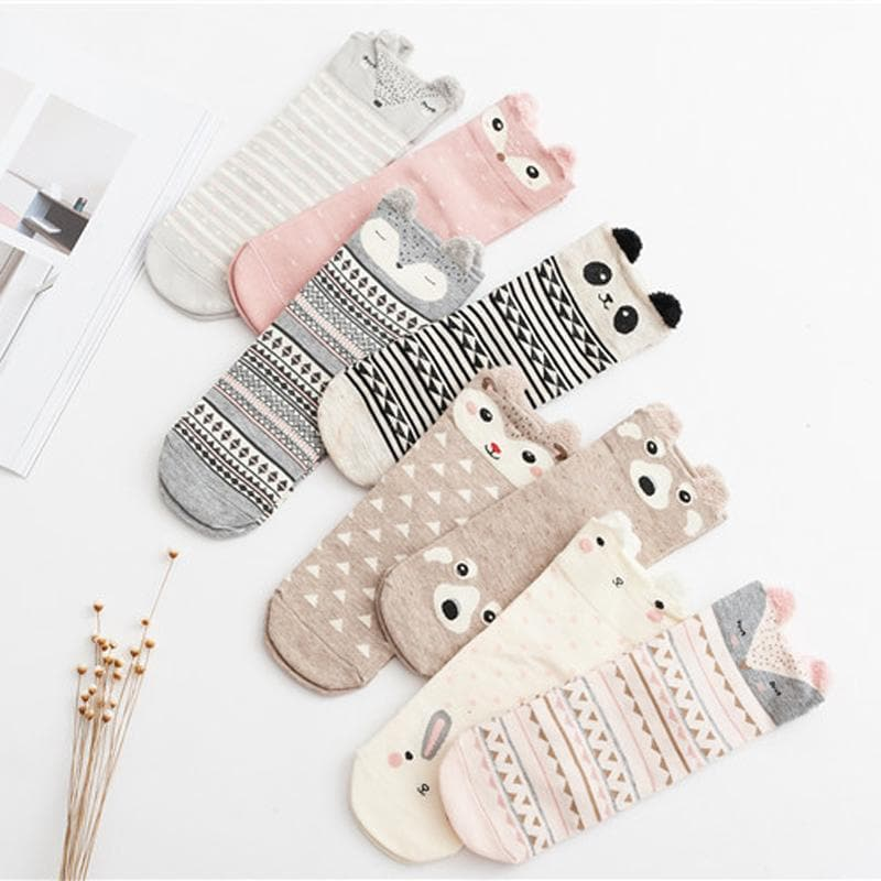 K-FASHION ♥ Cute Patterned Animal Socks - K-Pop Merch Lianox