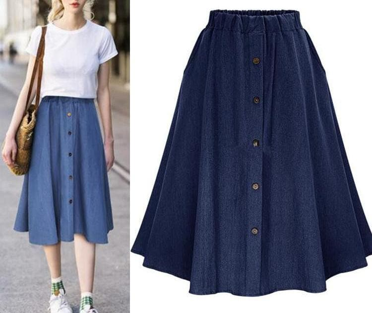 K-FASHION ♥ Denim High Waist Skirt - K-Pop Merch Lianox