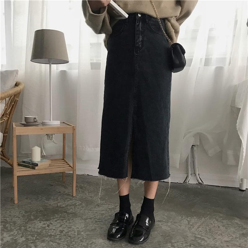 Black Denim Skirt with Hem Split - authentic Asian fashion from Korea, Japan and China.