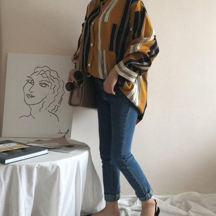 Oversized Blouse with Stripes and Button Details - authentic Asian fashion from Korea, Japan and China.