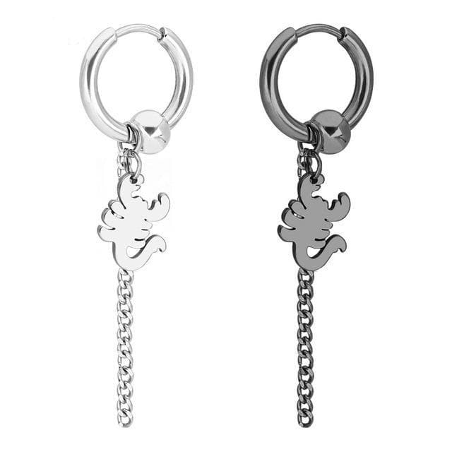 K-FASHION ♥ Dangle Earring Set (1 Silver + 1 Black) - K-Pop Merch Lianox