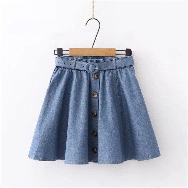 Denim Pleated Skirt with Buttons - authentic Asian fashion from Korea, Japan and China.