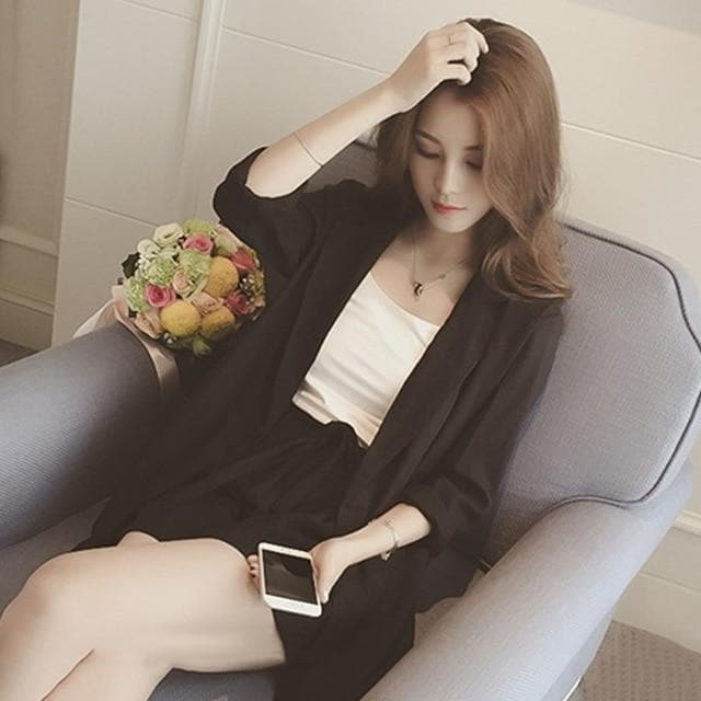 Formal Two-Piece-Set (Long Blazer + Shorts)