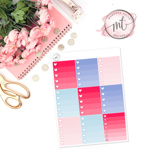 Birthday Babe Ombre Heart Checklists || Vertical