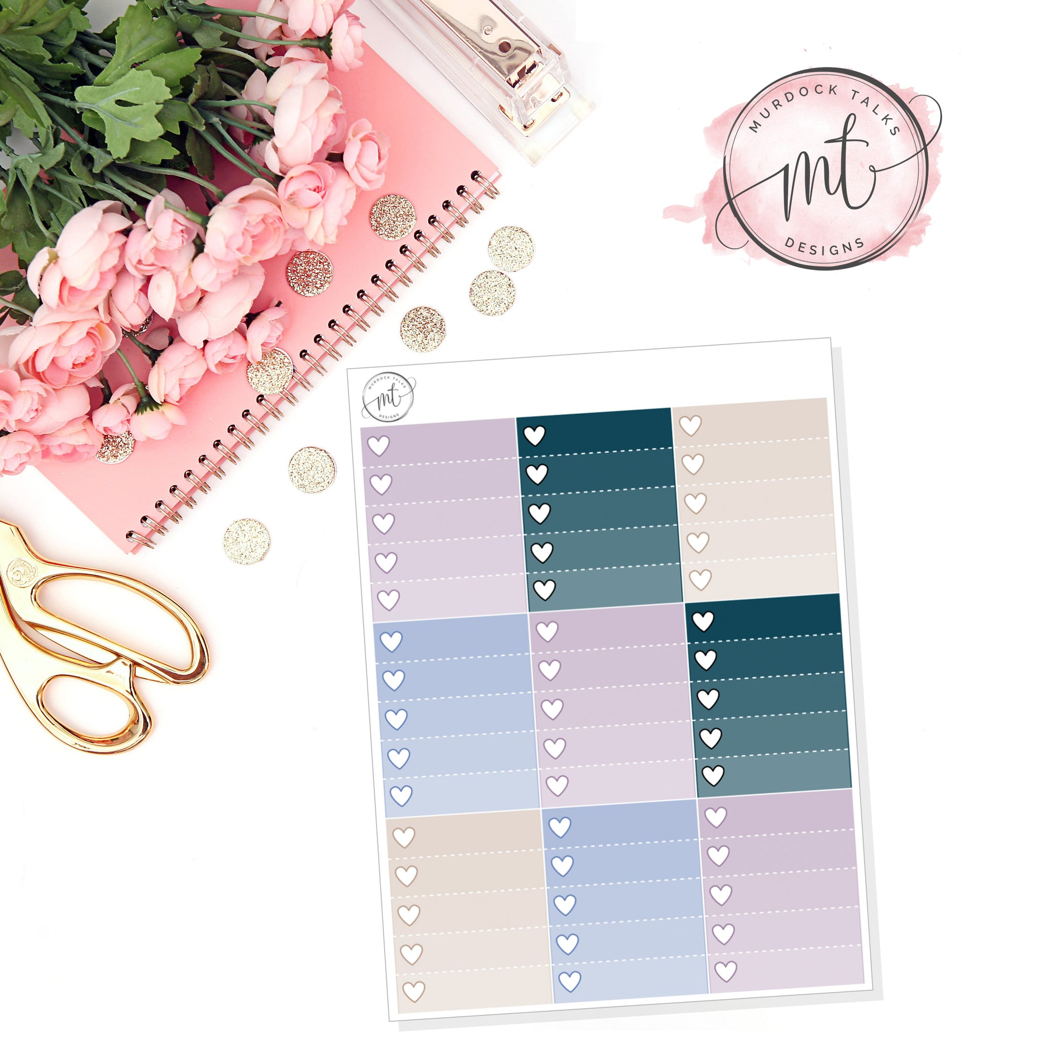 Busy Ombre Heart Checklists || Vertical