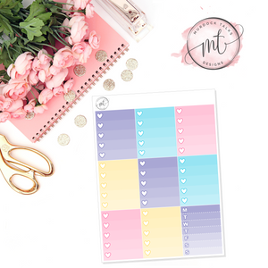 Easter Ombre Heart Checklists || Vertical