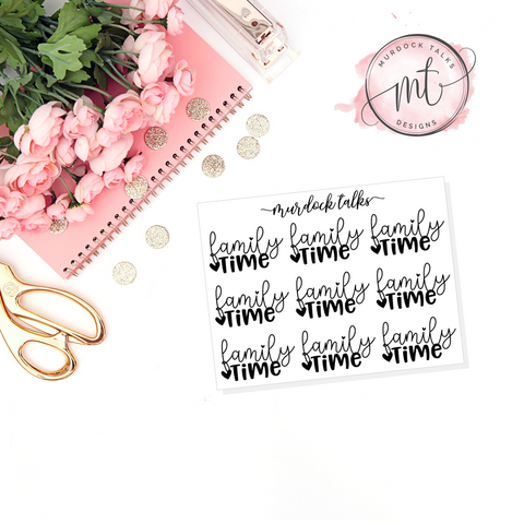 Family Time FOIL Script || 20+ Planner Stickers
