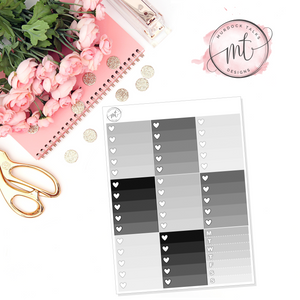 Monochrome Home Ombre Heart Checklists || Vertical