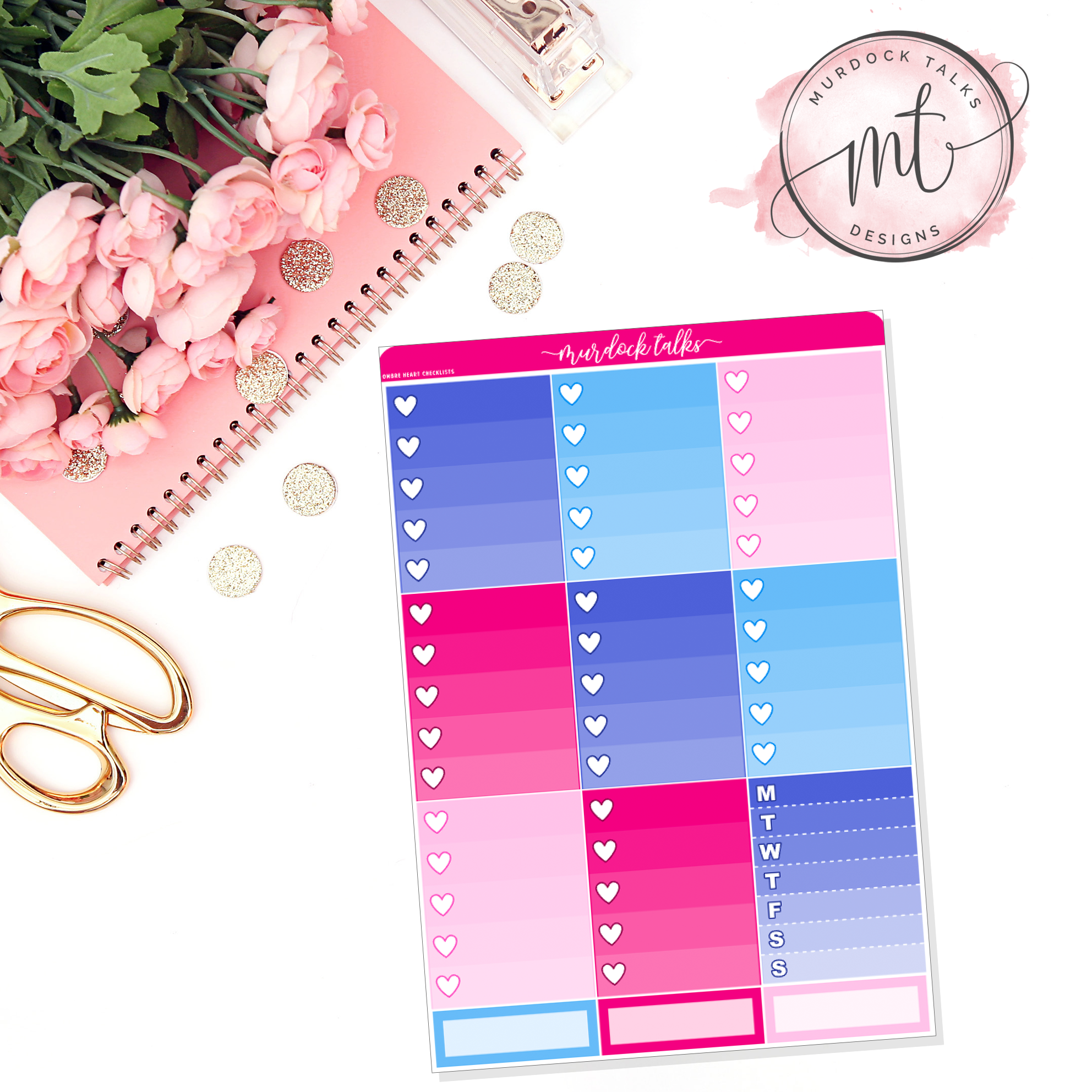 Independence Ombre Heart Checklists