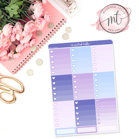 Lavender Dreams Ombre Heart Checklists