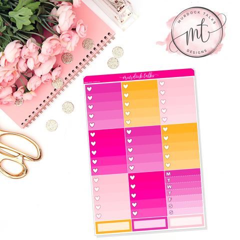Hustle Ombre Heart Checklists