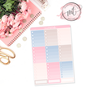 Delicate Ombre Heart Checklists