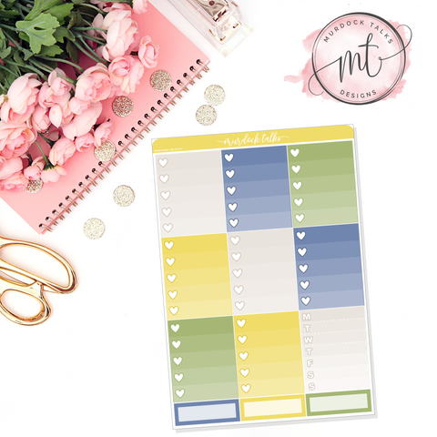 Lemonade Ombre Heart Checklists