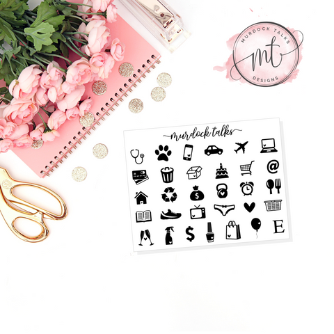 Small FOIL Cut Out Icons || 20+ Planner Stickers