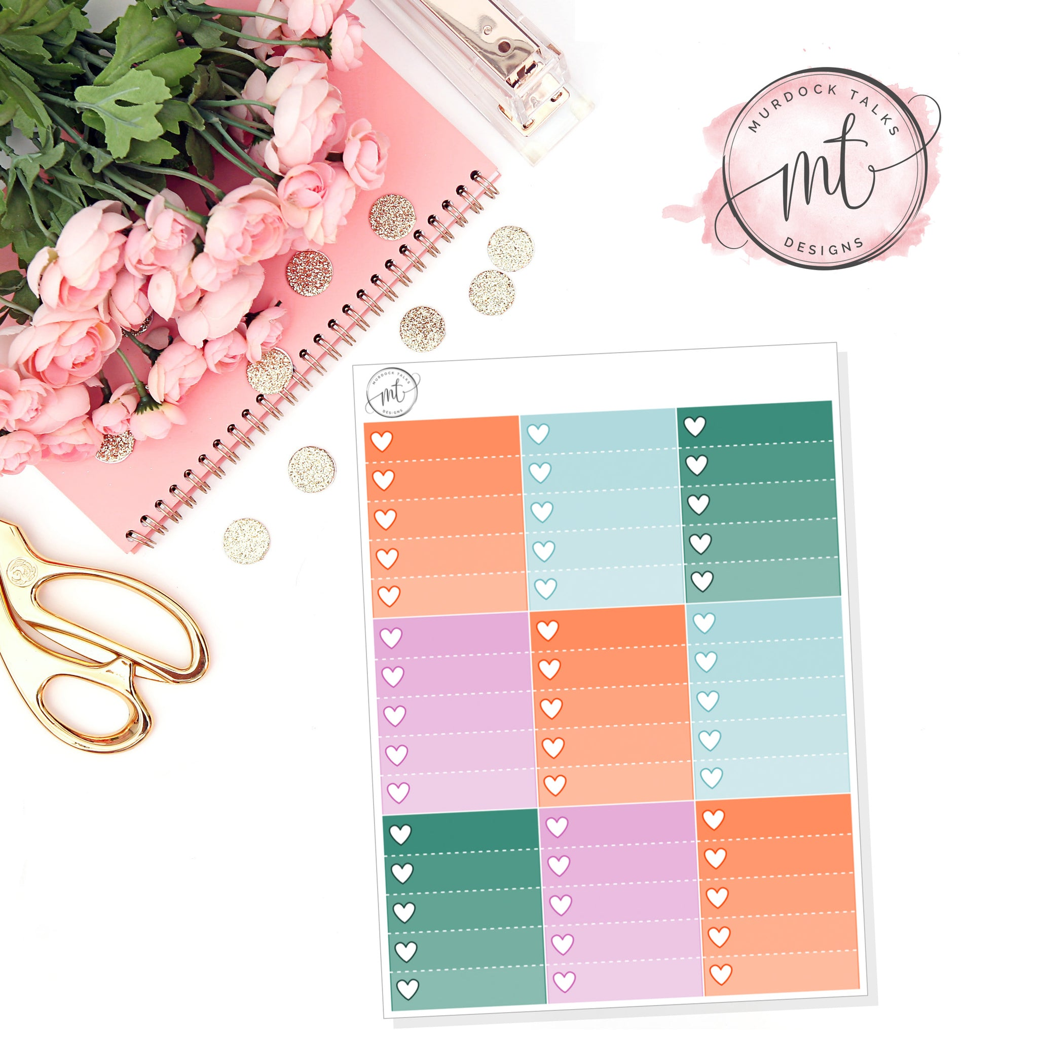 Thankful Ombre Heart Checklists || Vertical