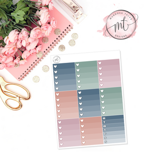 Trendy Ombre Heart Checklists || Vertical