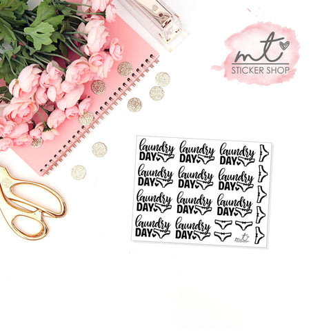 Laundry Day FOIL Script || 20+ Planner Stickers