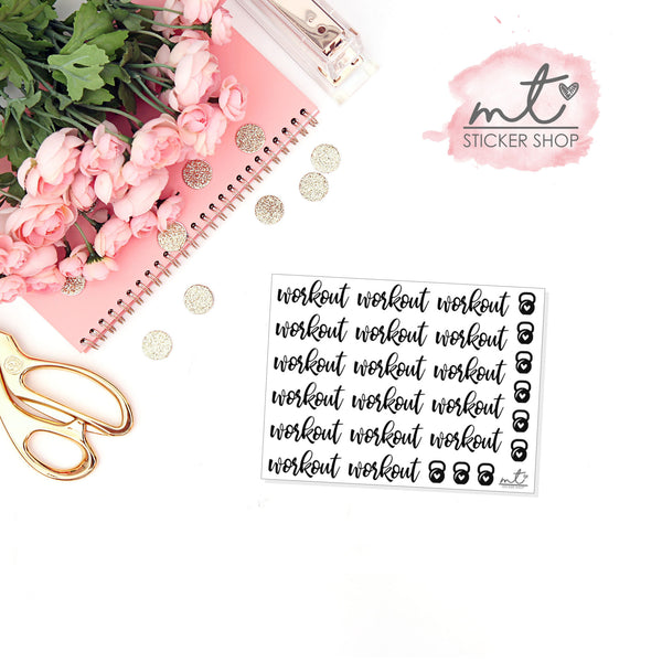 Workout FOIL Script || 20+ Planner Stickers