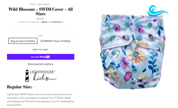 Lighthouse Kids Company Swim Diaper Wild Blossom