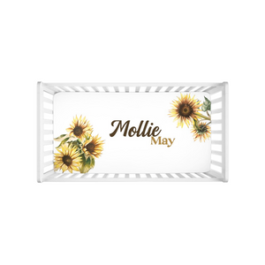Open image in slideshow, Sunflower Personalized Crib Sheet