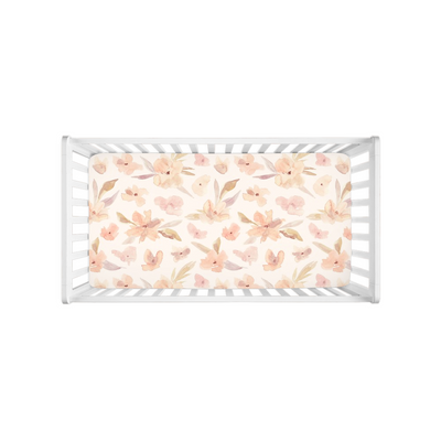 Grace Blush Floral Pattern Crib Sheets