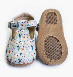 Open image in slideshow, Baby/Big Kid T-Bar Moccasins - Wild Blossom