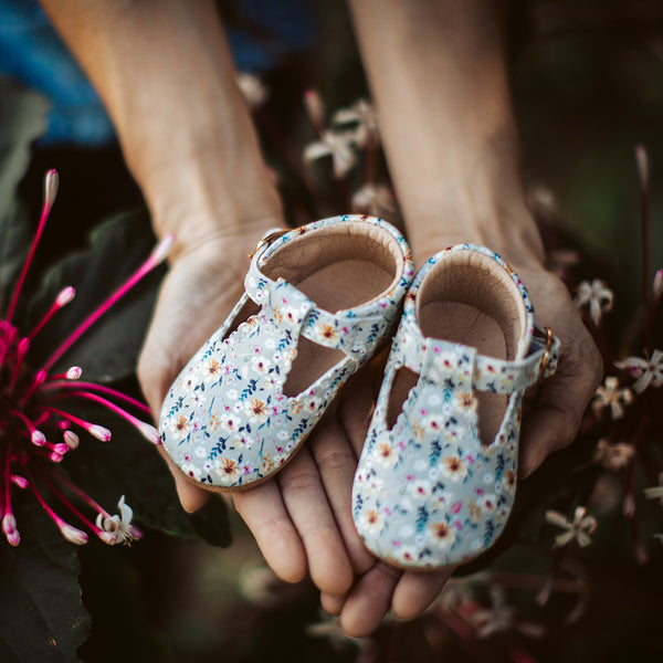 Baby/Big Kid T-Bar Moccasins - Wild Blossom - Final Sale