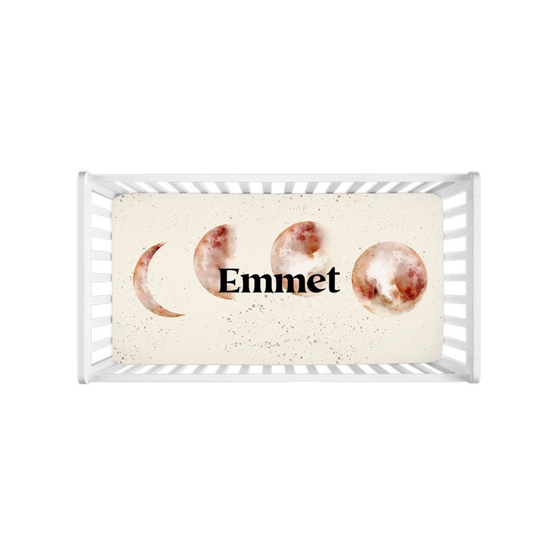 Emmet Red Moon Crib Sheets
