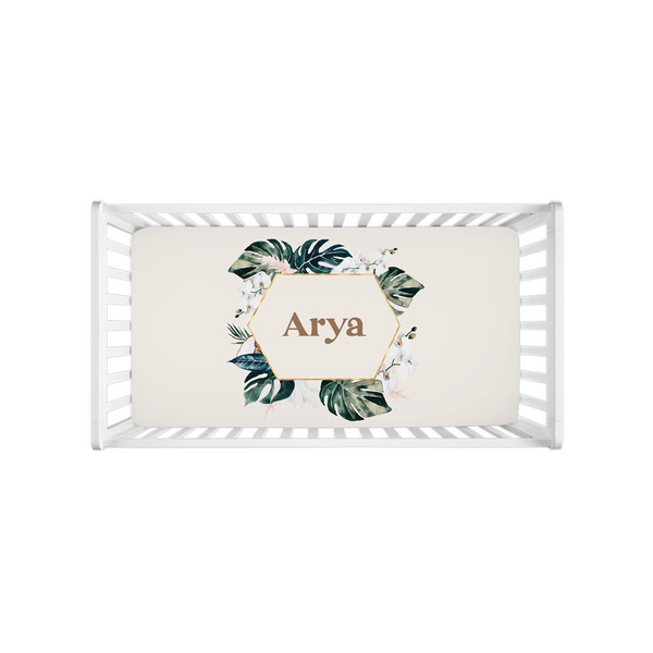 White Orchid Personalized Crib Sheet
