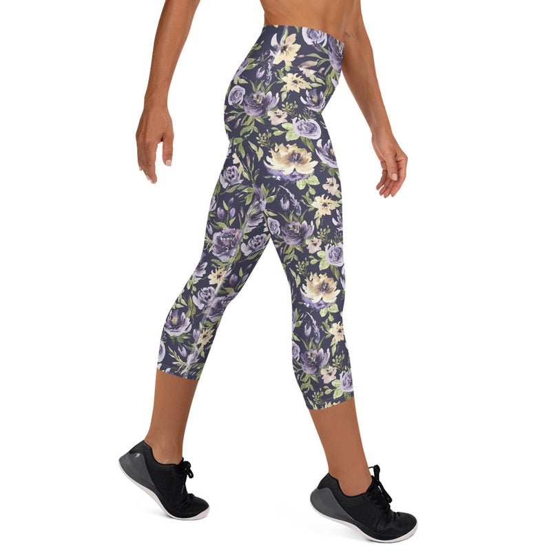 Purple Vintage Yoga Capri Leggings