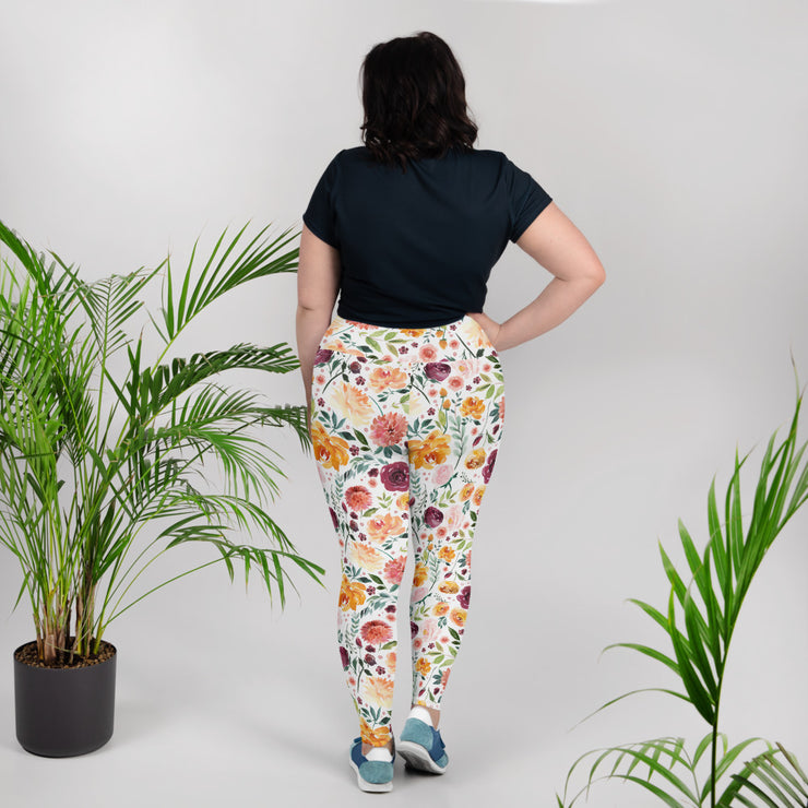 Late Bloom - Hight Waist Soft and Stretchy All-Over Print Plus Size Leggings