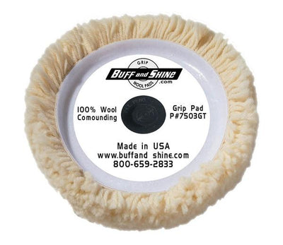"Buff and Shine 7.5"" 100% Natural Wool 4 Ply Twist Grip Pad™ with Center Tee"