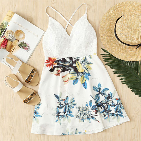 White Tropical Dress